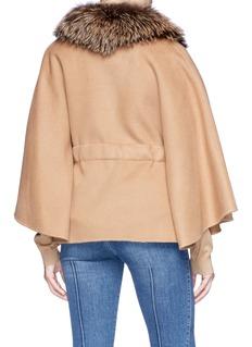 Yves Salomon Fox fur trim cashmere-wool melton cape