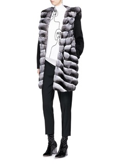 Yves Salomon Colourblock chinchilla fur hood panel melton coat