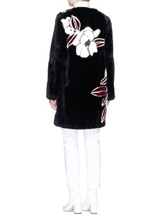 Yves Salomon Orchid flower print Rex rabbit fur coat