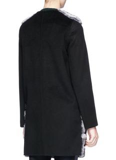Yves Salomon Colourblock chinchilla fur panel melton coat
