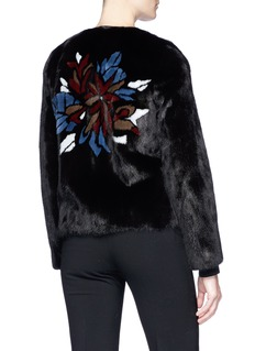 Yves Salomon Floral print mink fur coat
