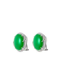 Samuel Kung Diamond jadeite oval stud earrings