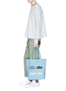 Mostly Heard Rarely Seen 'Current Mood' rubber appliqué tote bag