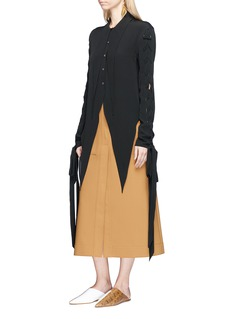JW Anderson Lace-up sleeve tie crepe top