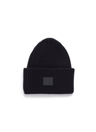 Main View - Click To Enlarge - Acne Studios - 'Pansy L Face' emoticon patch wool blend beanie