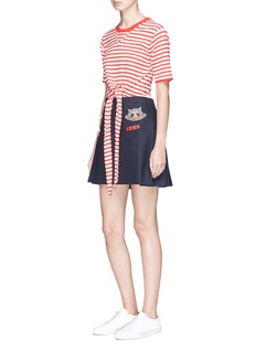 Mira Mikati Scout patch pleated canvas wrap kilt skirt