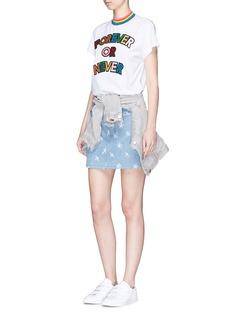 Mira Mikati 'FOREVER OR NEVER' slogan glitter appliqué T-shirt