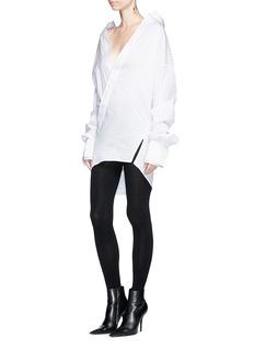 STRATEAS CARLUCCI 'Cliff' layered cuff V-neck pinstripe shirt