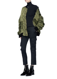 STRATEAS CARLUCCI 'Orchis Veil' ruched sleeve overlay oversized satin bomber jacket