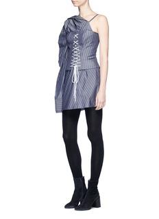 STRATEAS CARLUCCI 'Sever Macro' pinstripe one-shoulder shirt