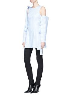 STRATEAS CARLUCCI 'Bulb' stripe cold shoulder shirt dress
