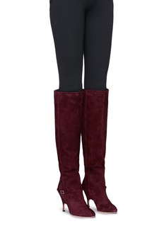 Alchimia di Ballin 'Titan' belted chamois leather knee high boots