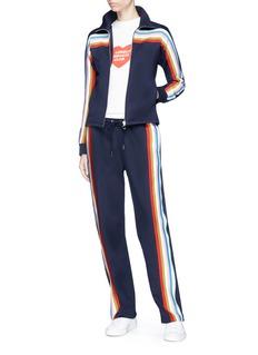 Alexa Chung Rainbow stripe jersey track pants