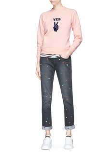 Alexa Chung 'Yes' velvet flock peace sign sweatshirt