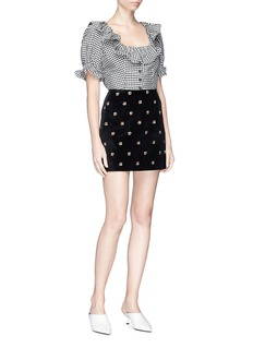 Alexa Chung Ruffle gingham check cropped seersucker top