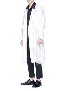 SULVAM 车缝线点缀前短后长纯棉衬衫