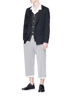 Sulvam Raw cuff stripe seersucker pants