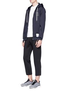 Satisfy 'Spacer' slogan appliqué running zip hoodie