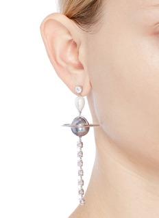 HEFANG Comet贝壳珍珠及锆石吊坠彗星耳环