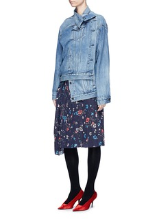 Balenciaga Asymmetric pulled oversized denim jacket
