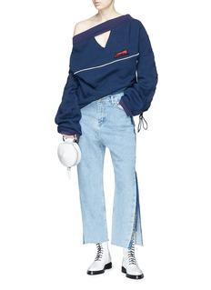 CRES. E DIM. Split cuff layered jeans
