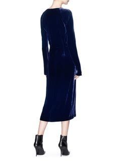 Dion Lee Cold shoulder velvet wrap dress