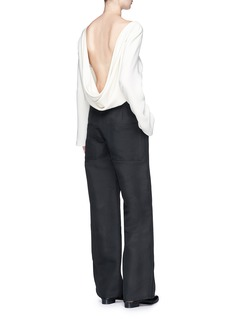 The Row 'Andra' draped open back silk crepe top