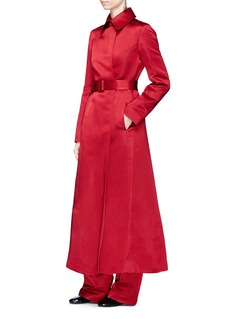 The Row 'Neyton' belted silk taffeta long coat