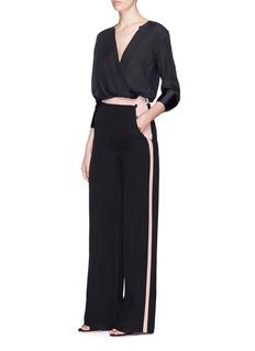 Valentino Side button colourblock stripe silk crepe pants