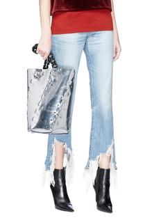 Proenza Schouler 'Hex' stud medium interlocked metallic leather panel bucket bag