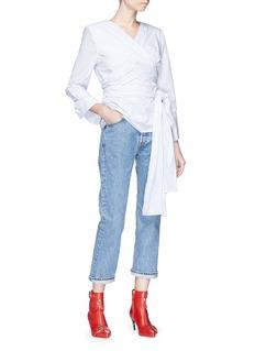 Monse Wraparound sash belt stripe poplin shirt
