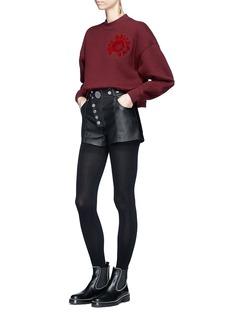 Alexander Wang  High waist press stud lambskin leather mini shorts