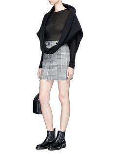Alexander Wang  High waist press stud check plaid mini skirt