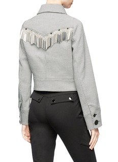 Alexander Wang  Bar fringe cropped houndstooth jacket