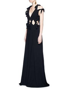 Rosetta Getty Cold shoulder cutout waist crepe gown