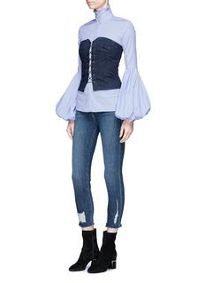 Caroline Constas 'Jacqueline' ruffle turtleneck bell sleeve stripe shirt