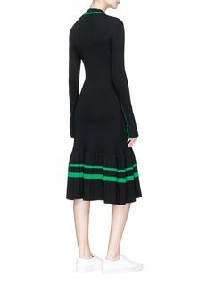 Short Sentence Stripe wool blend rib knit peplum dress