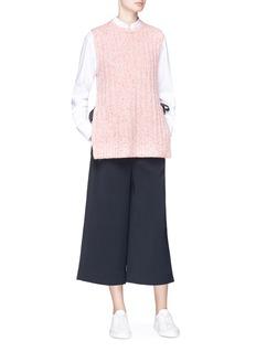 Short Sentence Ribbon tie outseam rib knit sleeveless sweater