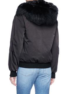 H Brand 'Mickey' raccoon fur hooded liner satin bomber jacket