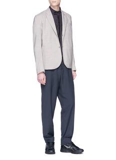 Kiko Kostadinov Mandarin collar contrast panel short sleeve shirt