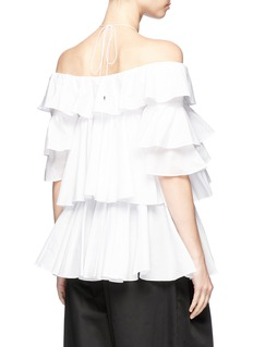 Tome Tiered ruffle halterneck off-shoulder blouse