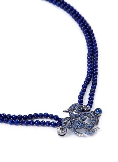 Wendy Yue Diamond sapphire lapis 18k white gold dragon pendant necklace