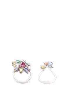 Wendy Yue Diamond gemstone 18k white gold two ring set