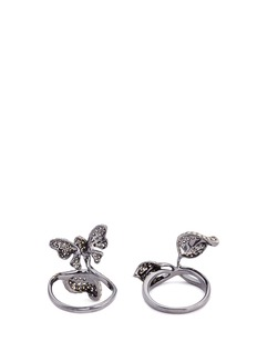 Wendy Yue Diamond sterling silver butterfly and leaf two ring set