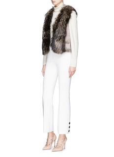 FLAMINGO Fox fur collar mink fur short gilet