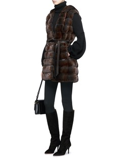 FLAMINGO Hooded mink fur long gilet