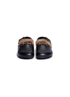 Gucci Horsebit lamb fur leather slingback sliders