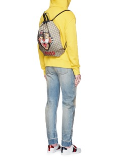 Gucci 'LOVED' Angry Cat print GG Supreme drawstring backpack