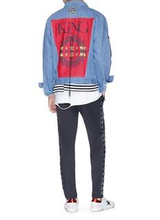 KiNG Beaded lacing tribal patch denim jacket