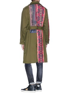 KiNG Beaded lacing tribal patch belted oversized twill parka